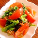 【簡単レシピ】フルーツトマトとほうれん草のツナドレッシングサラダ